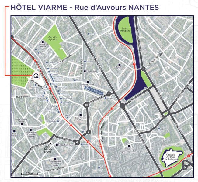 Plan d'accès à l'hôtel rue d'Auvours à Nantes.