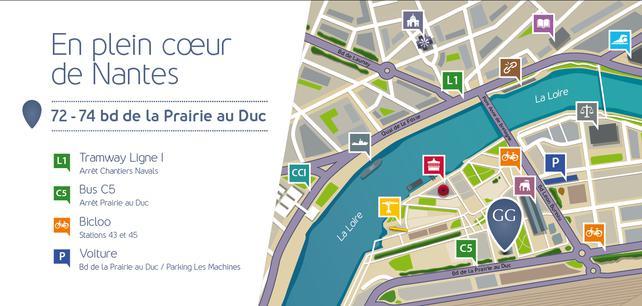Plan d'accès au cabinet Gaalon à Nantes : 72-74 boulevard de la Prairie au Duc